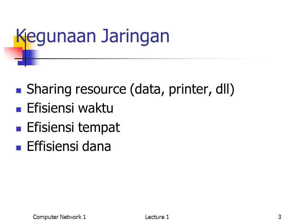 Computer Network 1Lecture 13 Kegunaan Jaringan Sharing resource (data, printer, dll) Efisiensi waktu Efisiensi tempat Effisiensi dana