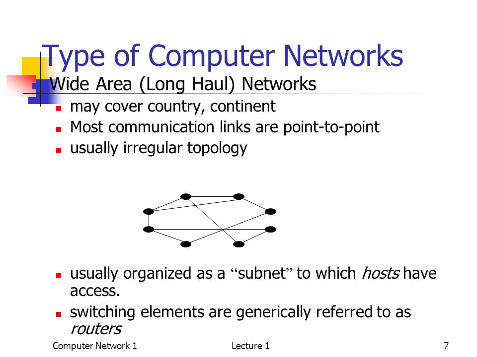 Computer Network 1Lecture 17 Type of Computer Networks Wide Area (Long Haul) Networks may cover country, continent Most communication links are point-to-point usually irregular topology usually organized as a subnet to which hosts have access.