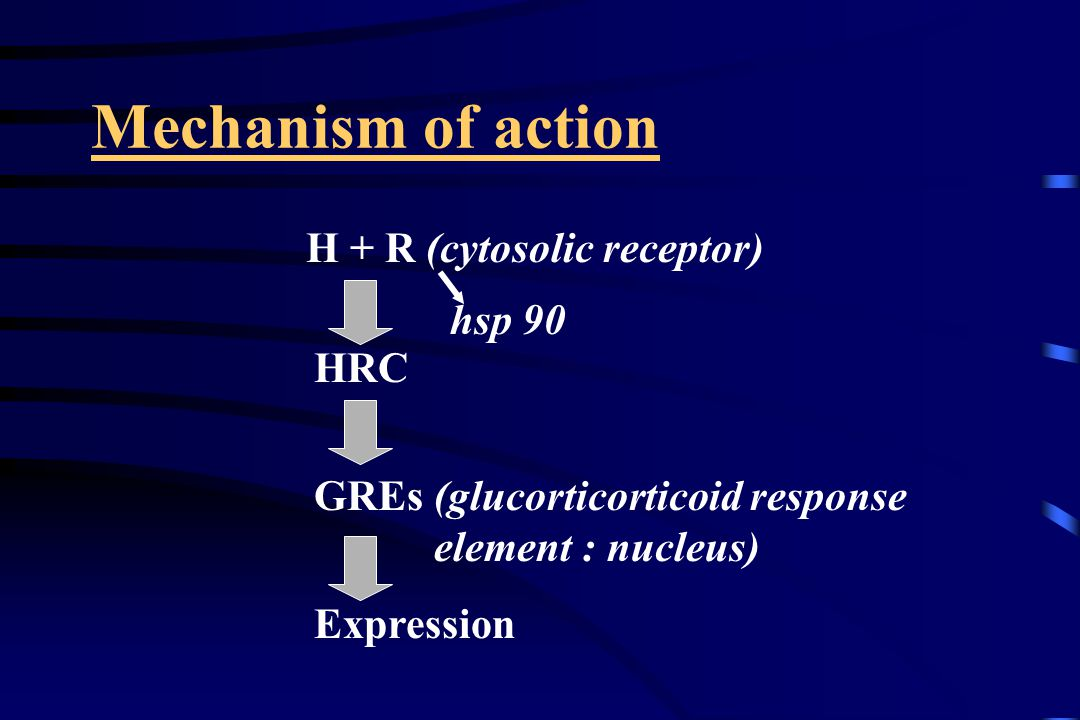 Mechanism of action H + R (cytosolic receptor) HRC GREs (glucorticorticoid response element : nucleus) Expression hsp 90