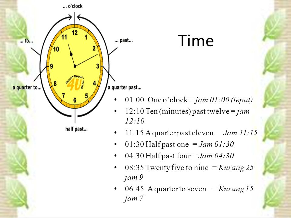 Time 01:00 One o'clock = jam 01:00 (tepat) 12:10 Ten (minutes) past twelve = jam 12:10 11:15 A quarter past eleven = Jam 11:15 01:30 Half past one = Jam 01:30 04:30 Half past four = Jam 04:30 08:35 Twenty five to nine = Kurang 25 jam 9 06:45 A quarter to seven = Kurang 15 jam 7