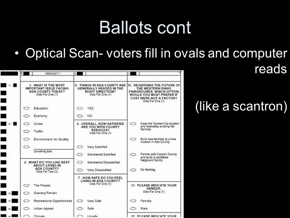Ballots cont Optical Scan- voters fill in ovals and computer reads (like a scantron)