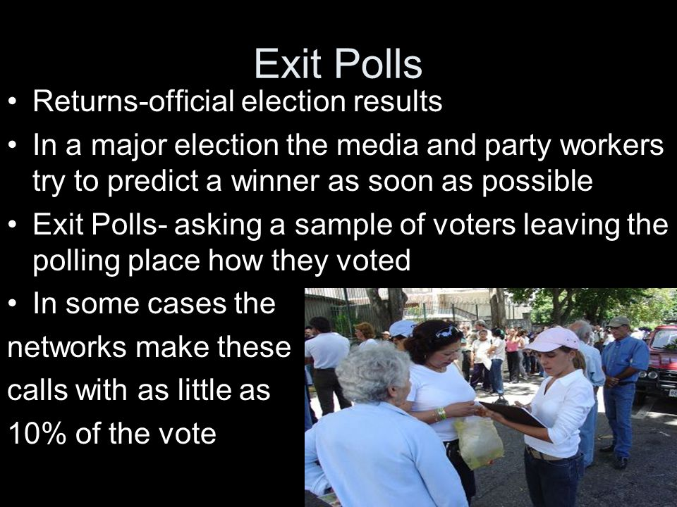 Exit Polls Returns-official election results In a major election the media and party workers try to predict a winner as soon as possible Exit Polls- asking a sample of voters leaving the polling place how they voted In some cases the networks make these calls with as little as 10% of the vote