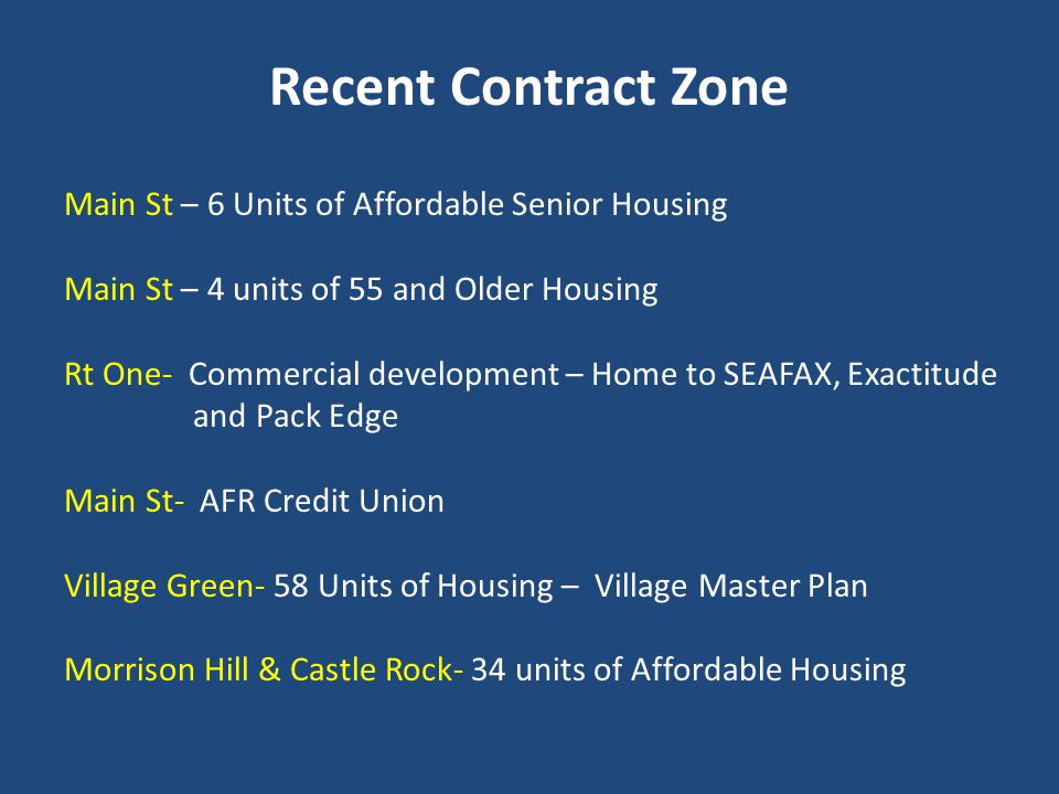 Recent Contract Zone Main St – 6 Units of Affordable Senior Housing Main St – 4 units of 55 and Older Housing Rt One- Commercial development – Home to SEAFAX, Exactitude and Pack Edge Main St- AFR Credit Union Village Green- 58 Units of Housing – Village Master Plan Morrison Hill & Castle Rock- 34 units of Affordable Housing