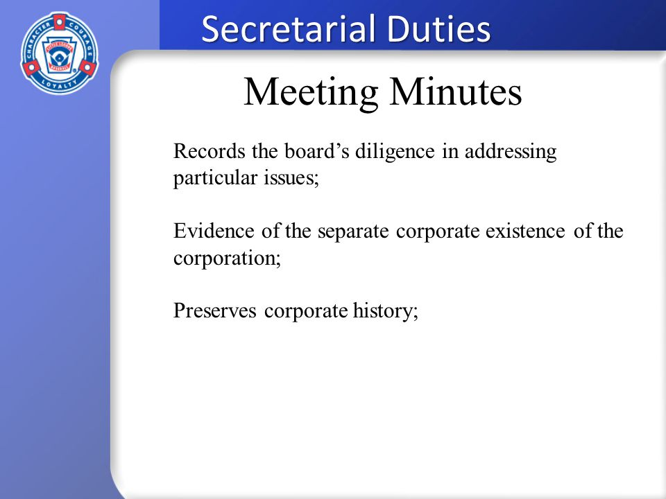 secretarial duties the secretary records the minutes of the