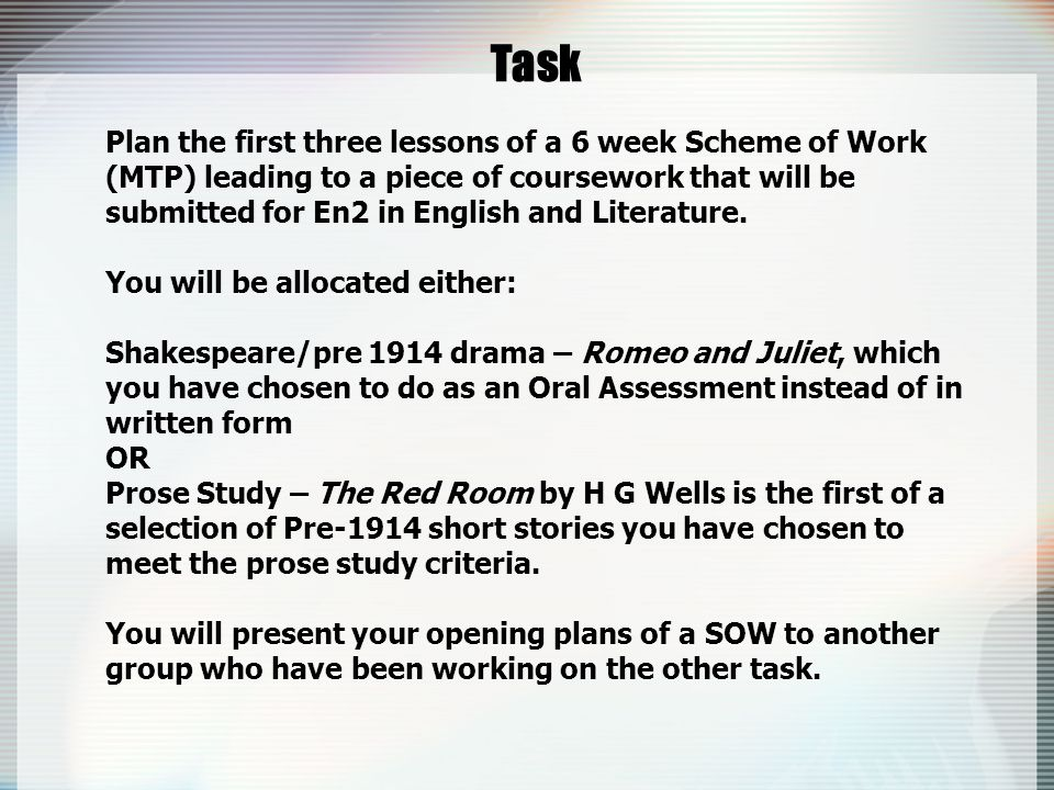 Task Plan the first three lessons of a 6 week Scheme of Work (MTP) leading to a piece of coursework that will be submitted for En2 in English and Literature.