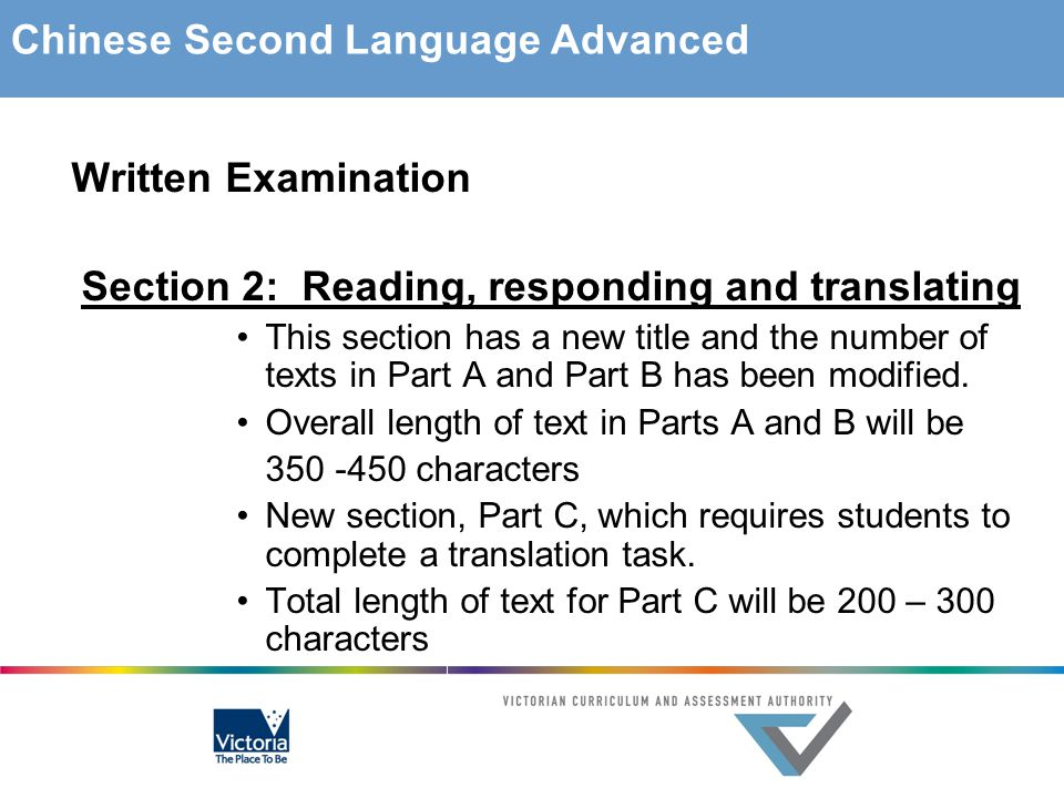 Written Examination Section 2: Reading, responding and translating This section has a new title and the number of texts in Part A and Part B has been modified.