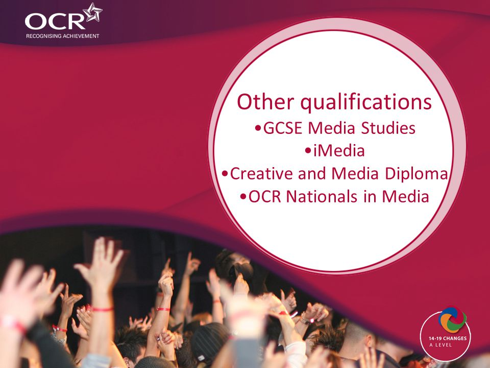 Other qualifications GCSE Media Studies iMedia Creative and Media Diploma OCR Nationals in Media
