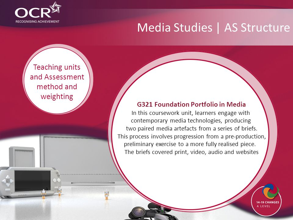 Media Studies | AS Structure G321 Foundation Portfolio in Media In this coursework unit, learners engage with contemporary media technologies, producing two paired media artefacts from a series of briefs.