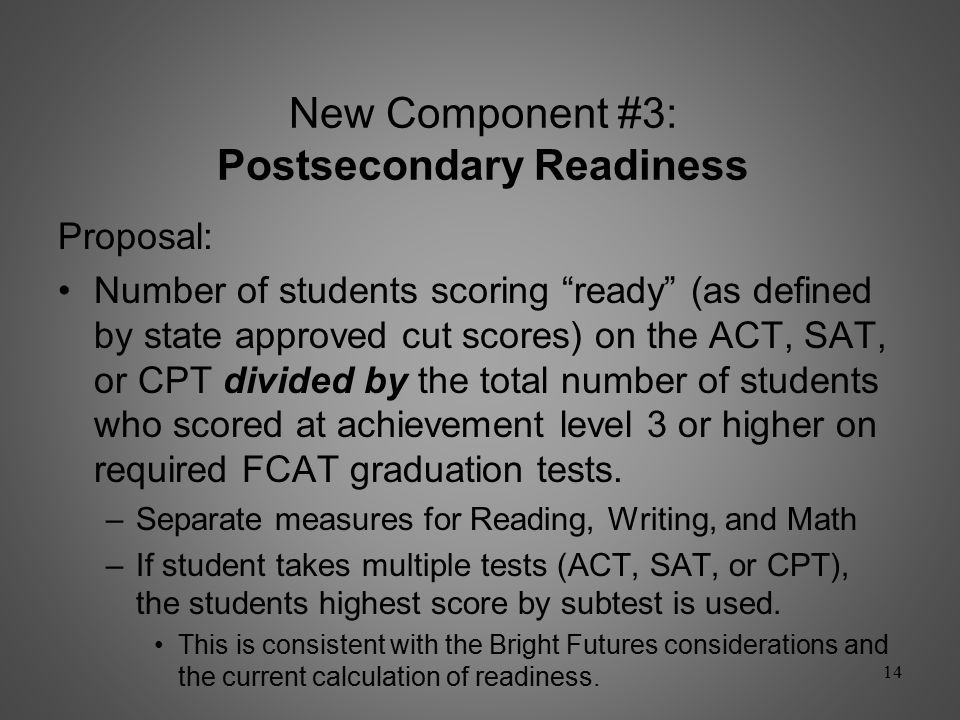 New Component #2: Performance in Accelerated Coursework Successful Completions defined as: AP Score of 31 Successful Completion Score of 4 or 52 Successful Completions IB Score of 41 Successful Completion Score of 5, 6, or 72 Successful Completions AICE Passing Score on an AS Level AICE Exam 1 Successful Completion Passing Score on an A Level AICE Exam 2 Successful Completions Dual Enrollment Passing grade of C or higher in the course 1 Successful Completion Industry Certification 10/30/200810/30/20081 Successful Completion 13