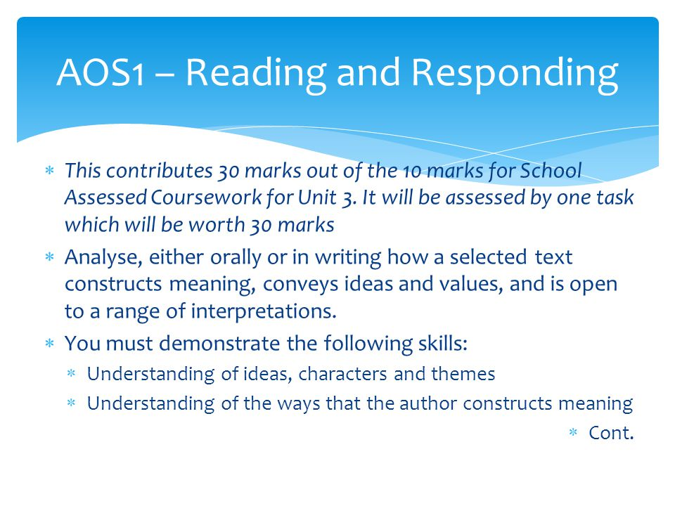  This contributes 30 marks out of the 10 marks for School Assessed Coursework for Unit 3.