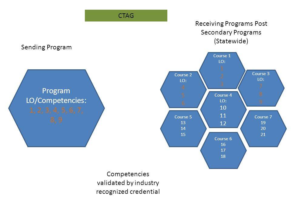 Course 2 LO: Course 1 LO: Receiving Programs Post Secondary Programs (Statewide) Course 3 LO: Course 4 LO: Course Course Course Program LO/Competencies: 1, 2, 3, 4, 5, 6, 7, 8, 9 Sending Program Competencies validated by industry recognized credential CTAG