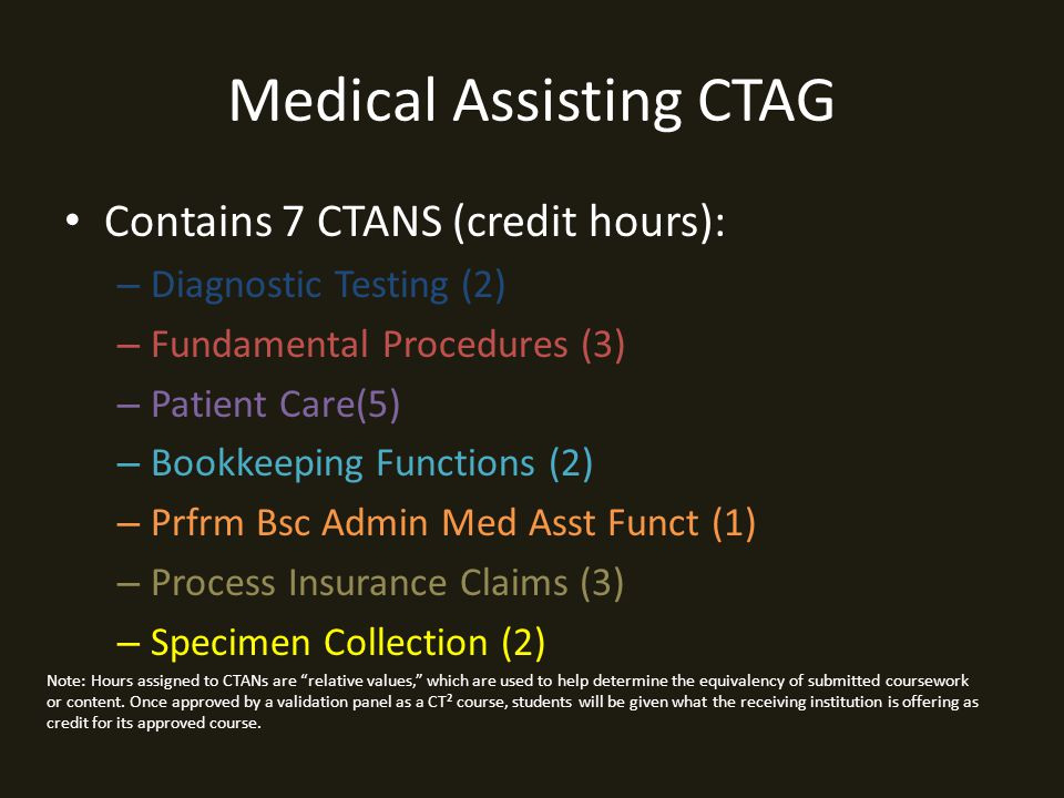Medical Assisting CTAG Contains 7 CTANS (credit hours): – Diagnostic Testing (2) – Fundamental Procedures (3) – Patient Care(5) – Bookkeeping Functions (2) – Prfrm Bsc Admin Med Asst Funct (1) – Process Insurance Claims (3) – Specimen Collection (2) Note: Hours assigned to CTANs are relative values, which are used to help determine the equivalency of submitted coursework or content.