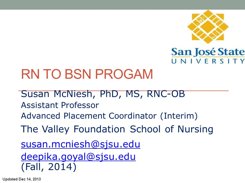Susan McNiesh, PhD, MS, RNC-OB Assistant Professor Advanced Placement Coordinator (Interim) The Valley Foundation School of Nursing  (Fall, 2014) RN TO BSN PROGAM Updated Dec 14, 2013