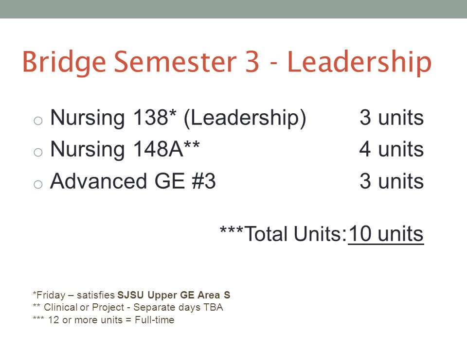 Bridge Semester 3 - Leadership o Nursing 138* (Leadership)3 units o Nursing 148A** 4 units o Advanced GE #33 units ***Total Units :10 units *Friday – satisfies SJSU Upper GE Area S ** Clinical or Project - Separate days TBA *** 12 or more units = Full-time