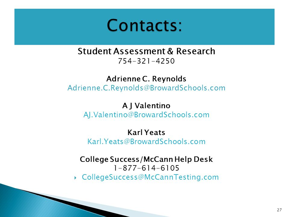 Student Assessment & Research Adrienne C.