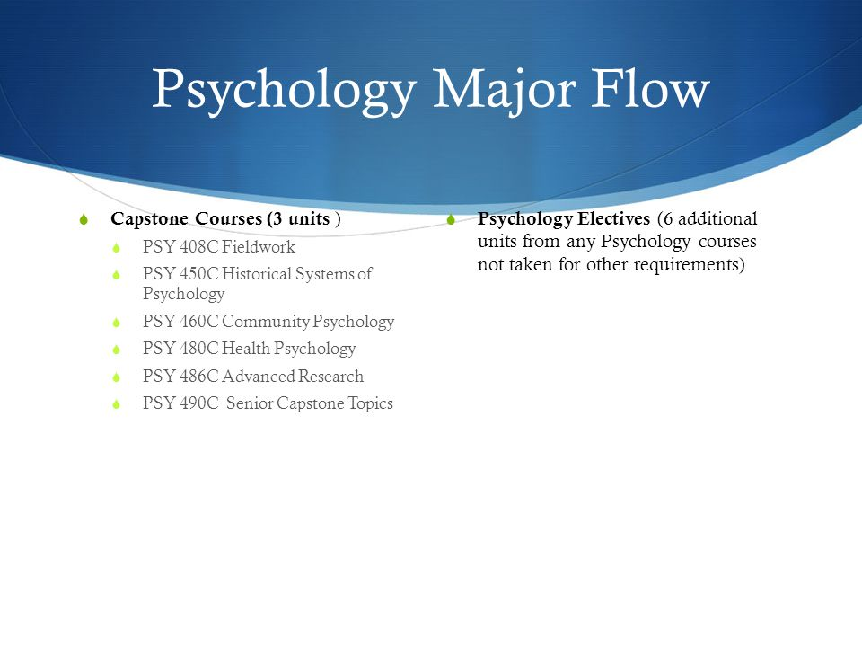 Psychology Major Flow  Capstone Courses (3 units )  PSY 408C Fieldwork  PSY 450C Historical Systems of Psychology  PSY 460C Community Psychology  PSY 480C Health Psychology  PSY 486C Advanced Research  PSY 490C Senior Capstone Topics  Psychology Electives (6 additional units from any Psychology courses not taken for other requirements)