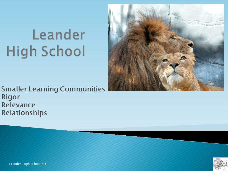 Smaller Learning Communities Rigor Relevance Relationships Leander High School SLC