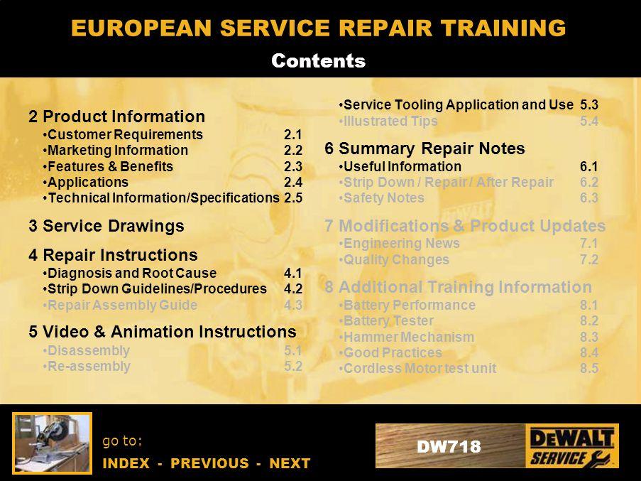 Go to: INDEX - PREVIOUS - NEXT DW718 EUROPEAN SERVICE REPAIR