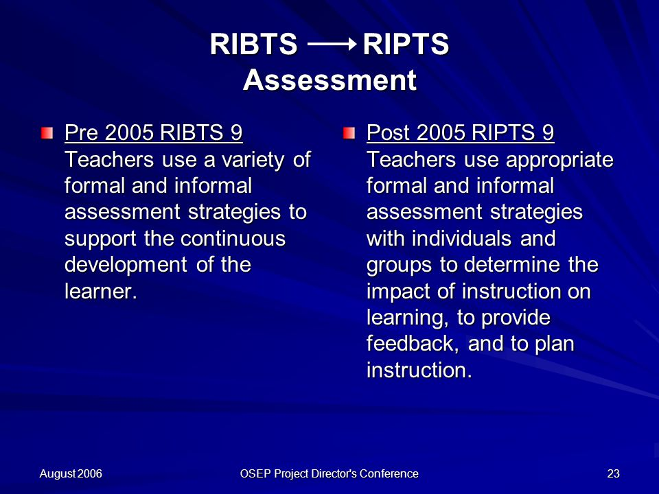 August 2006 OSEP Project Director s Conference 23 RIBTS RIPTS Assessment Pre 2005 RIBTS 9 Teachers use a variety of formal and informal assessment strategies to support the continuous development of the learner.