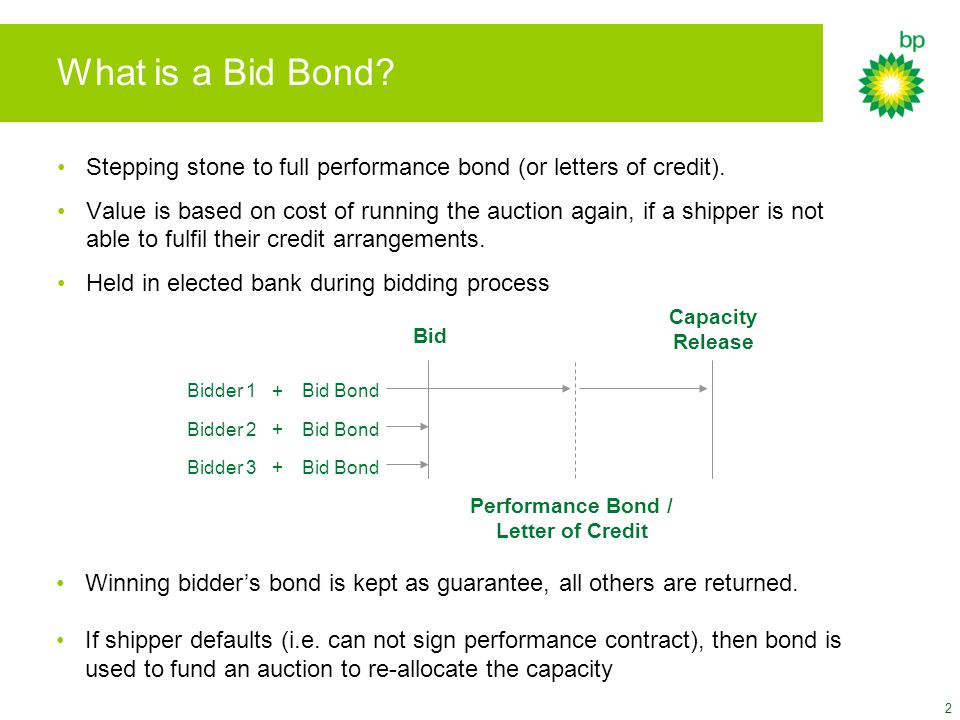 2 What is a Bid Bond. Stepping stone to full performance bond (or letters of credit).