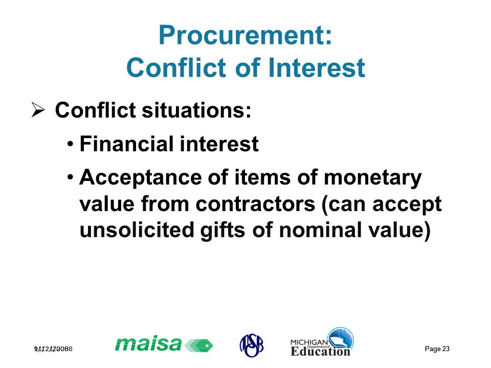11/21/2008 Page 23 9/12/2008 Page 23 Procurement: Conflict of Interest  Conflict situations: Financial interest Acceptance of items of monetary value from contractors (can accept unsolicited gifts of nominal value)
