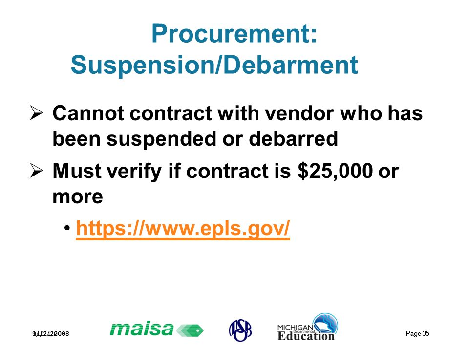 11/21/2008 Page 35 9/12/2008 Page 35 Procurement: Suspension/Debarment  Cannot contract with vendor who has been suspended or debarred  Must verify if contract is $25,000 or more