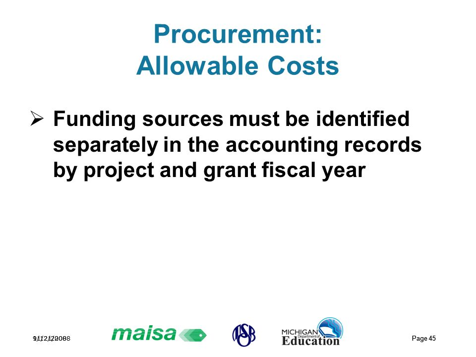 11/21/2008 Page 45 9/12/2008 Page 45 Procurement: Allowable Costs  Funding sources must be identified separately in the accounting records by project and grant fiscal year