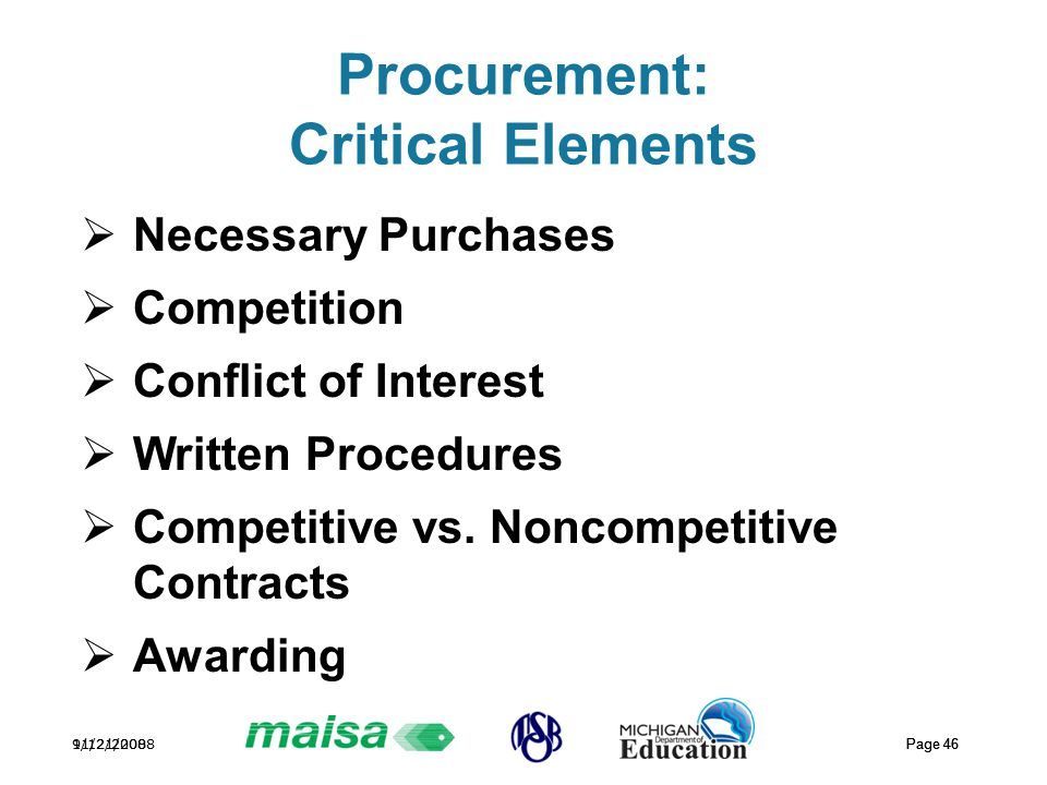 11/21/2008 Page 46 9/12/2008 Page 46 Procurement: Critical Elements  Necessary Purchases  Competition  Conflict of Interest  Written Procedures  Competitive vs.