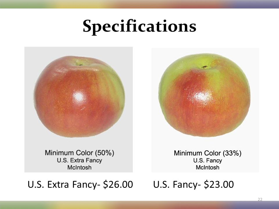 Specifications 22 U.S. Extra Fancy- $26.00 U.S. Fancy- $23.00