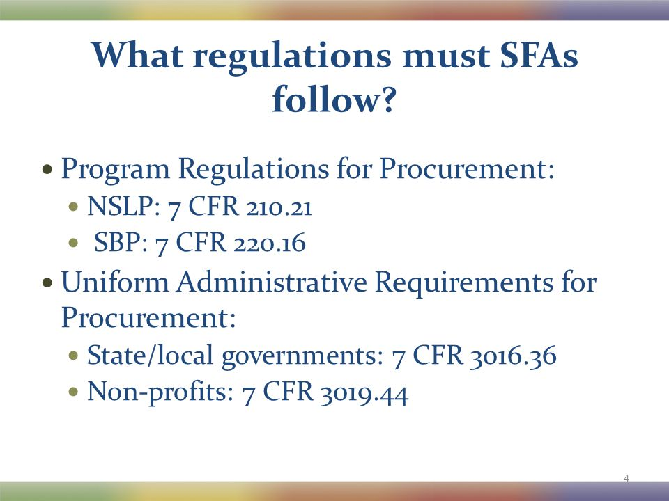 What regulations must SFAs follow.