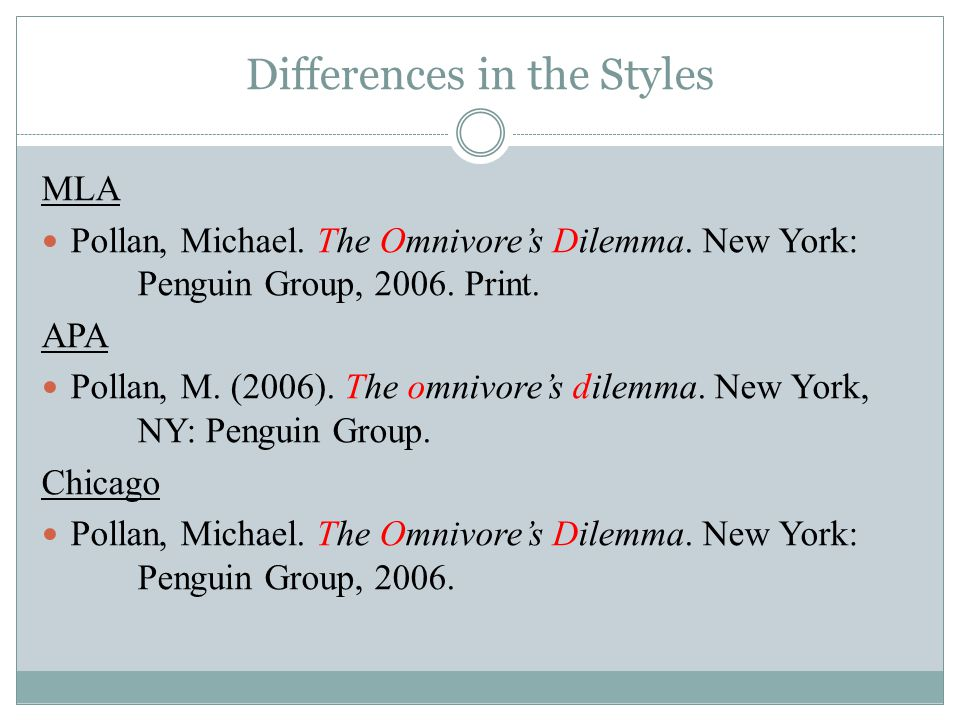 Differences in the Styles MLA Pollan, Michael. The Omnivore's Dilemma.