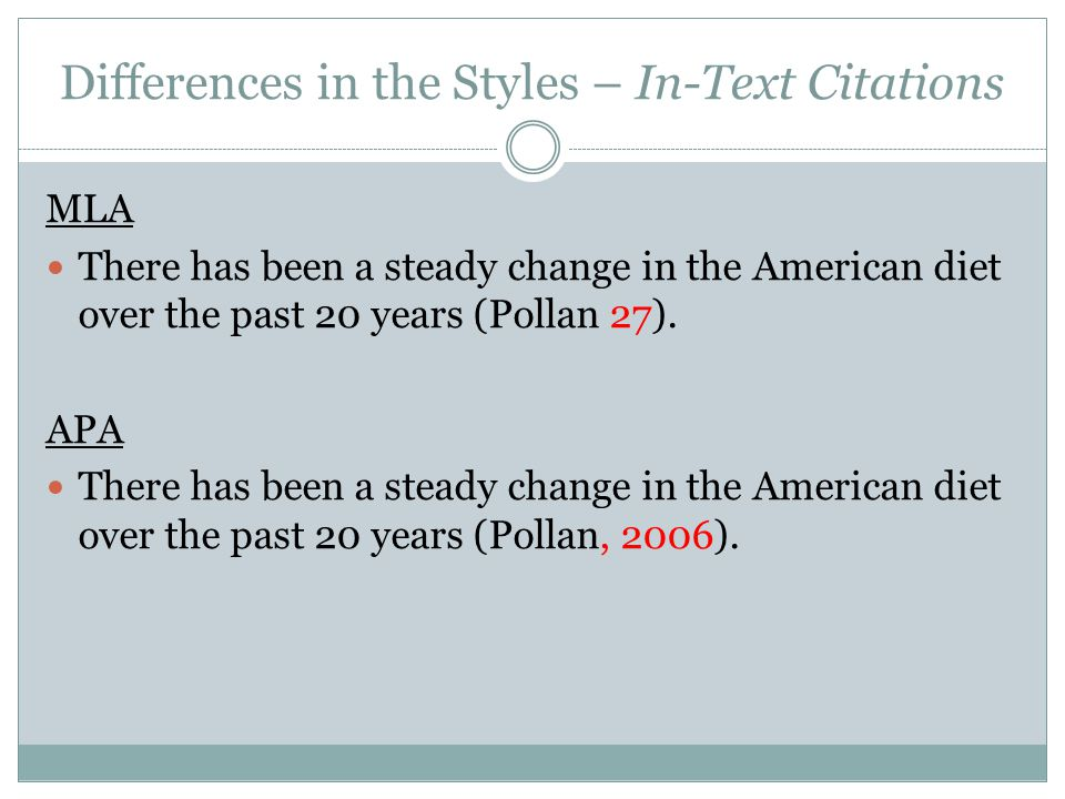 Differences in the Styles – In-Text Citations MLA There has been a steady change in the American diet over the past 20 years (Pollan 27).