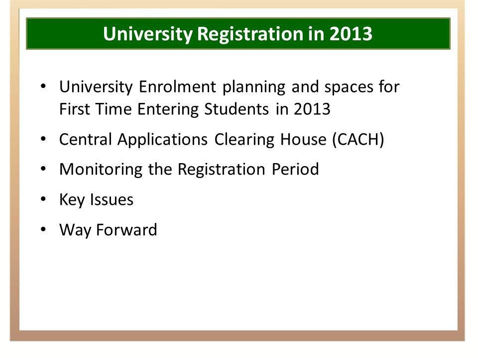 University Registrations And Enrolments 2013 Portfolio