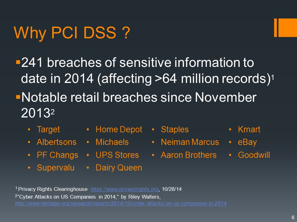 Why PCI DSS .