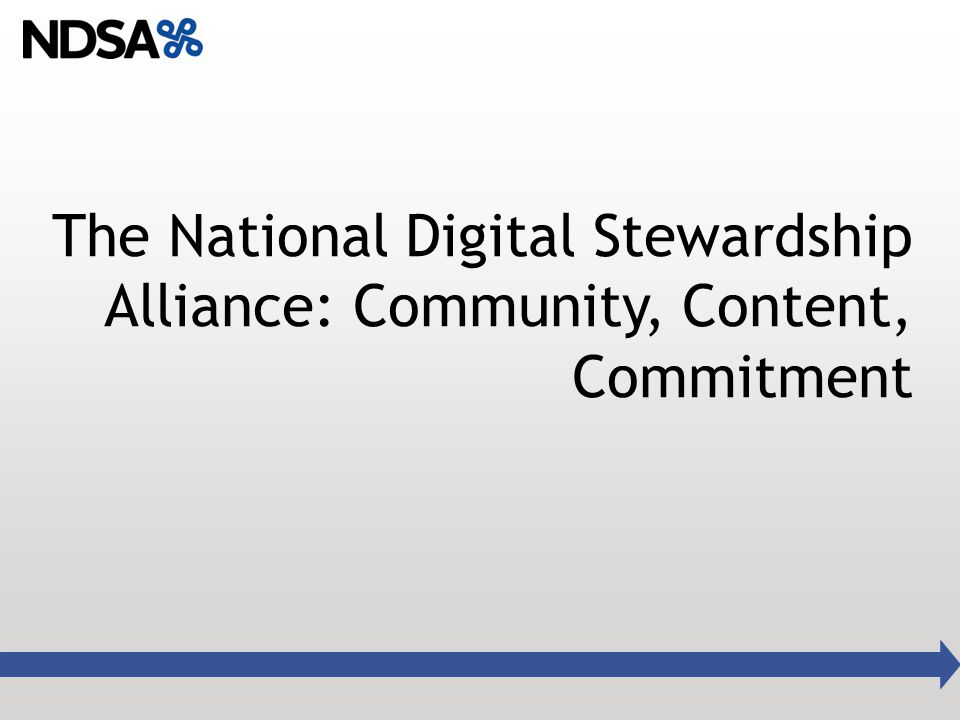 The National Digital Stewardship Alliance: Community, Content, Commitment