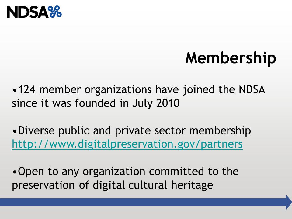 Membership 124 member organizations have joined the NDSA since it was founded in July 2010 Diverse public and private sector membership   Open to any organization committed to the preservation of digital cultural heritage
