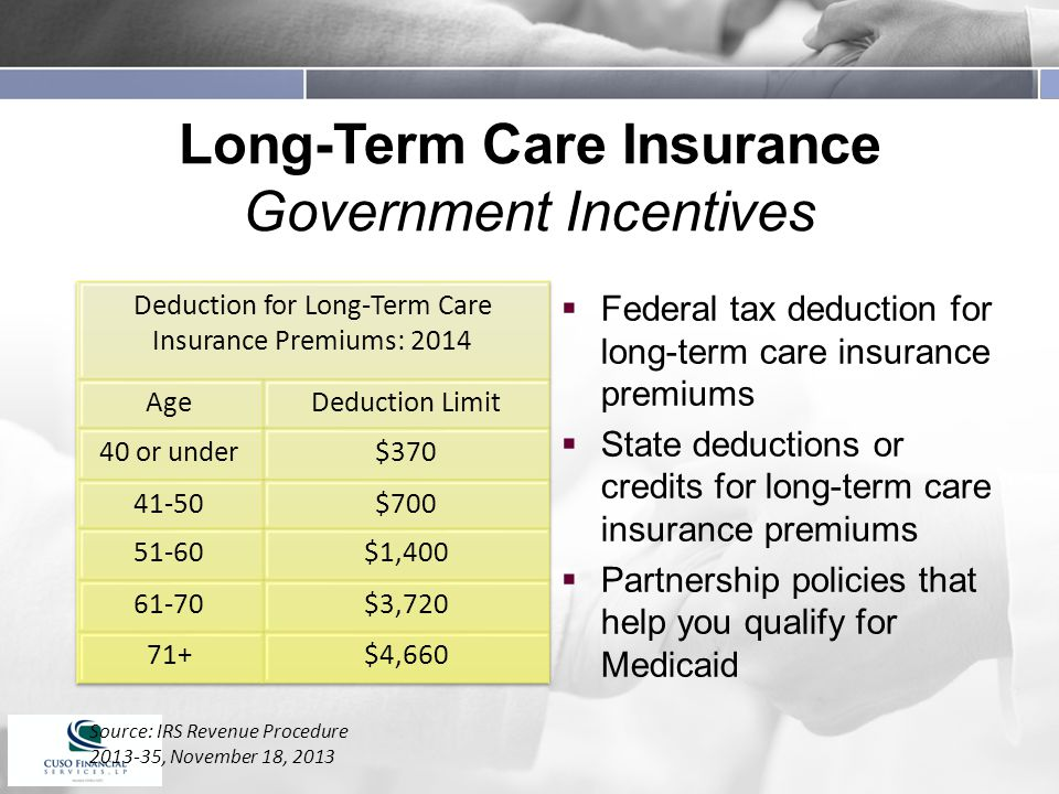 Long-Term Care Insurance Government Incentives  Federal tax deduction for long-term care insurance premiums  State deductions or credits for long-term care insurance premiums  Partnership policies that help you qualify for Medicaid Source: IRS Revenue Procedure , November 18, 2013