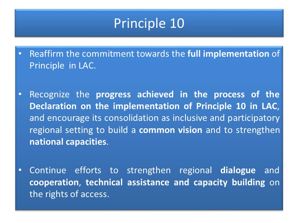 Principle 10 Reaffirm the commitment towards the full implementation of Principle in LAC.