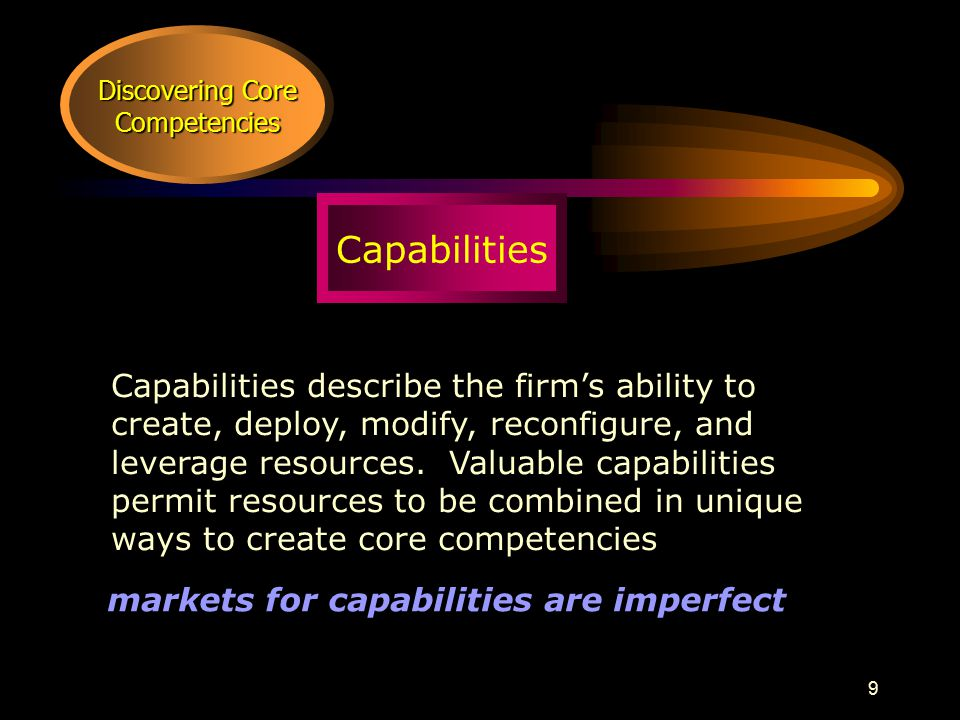 9 Discovering Core Competencies Capabilities Capabilities describe the firm's ability to create, deploy, modify, reconfigure, and leverage resources.