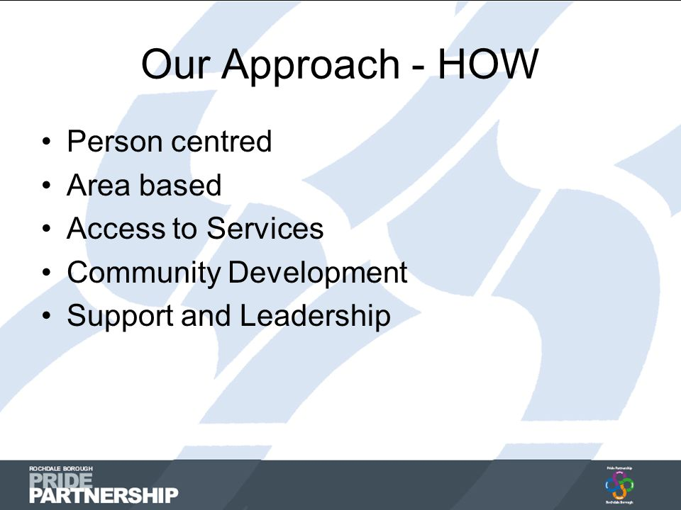 Our Approach - HOW Person centred Area based Access to Services Community Development Support and Leadership