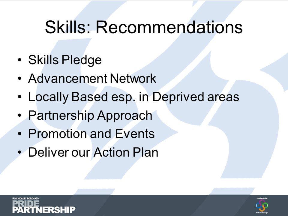 Skills: Recommendations Skills Pledge Advancement Network Locally Based esp.