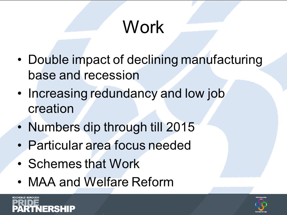 Work Double impact of declining manufacturing base and recession Increasing redundancy and low job creation Numbers dip through till 2015 Particular area focus needed Schemes that Work MAA and Welfare Reform
