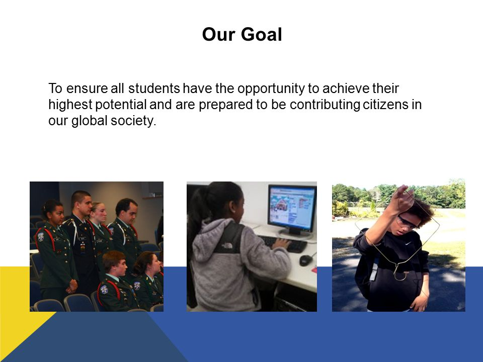 Our Goal To ensure all students have the opportunity to achieve their highest potential and are prepared to be contributing citizens in our global society.