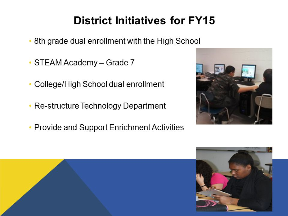 District Initiatives for FY15 8th grade dual enrollment with the High School STEAM Academy – Grade 7 College/High School dual enrollment Re-structure Technology Department Provide and Support Enrichment Activities