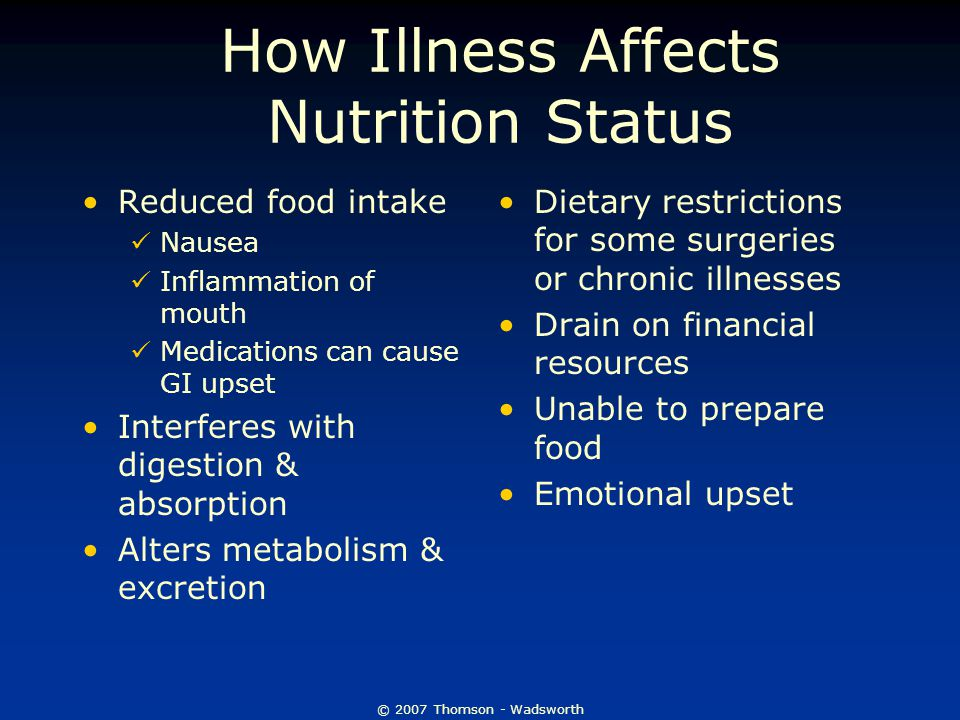 © 2007 Thomson - Wadsworth How Illness Affects Nutrition Status Reduced food intake Nausea Inflammation of mouth Medications can cause GI upset Interferes with digestion & absorption Alters metabolism & excretion Dietary restrictions for some surgeries or chronic illnesses Drain on financial resources Unable to prepare food Emotional upset