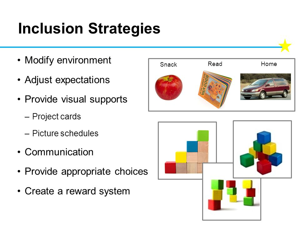 Inclusion Strategies Modify environment Adjust expectations Provide visual supports –Project cards –Picture schedules Communication Provide appropriate choices Create a reward system Snack ReadHome