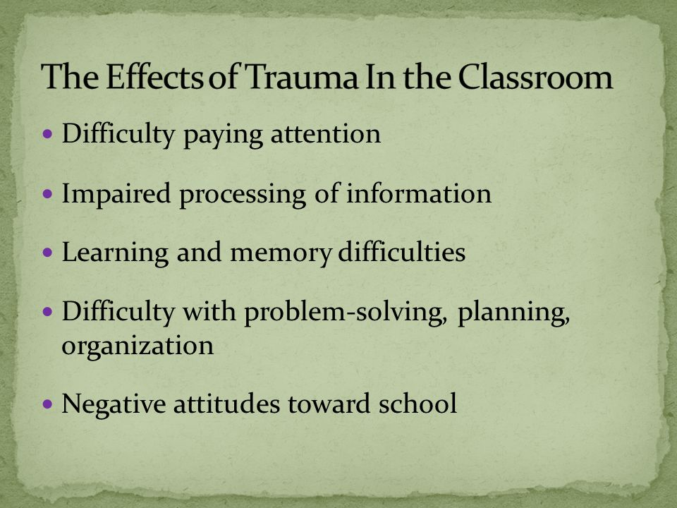 Difficulty paying attention Impaired processing of information Learning and memory difficulties Difficulty with problem-solving, planning, organization Negative attitudes toward school