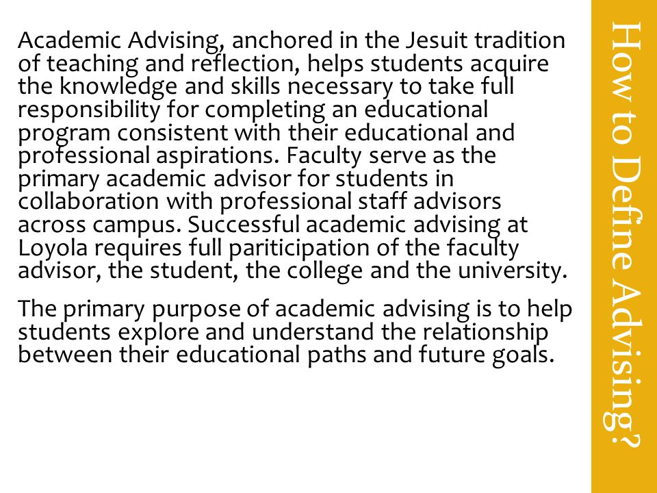 How to Define Advising.