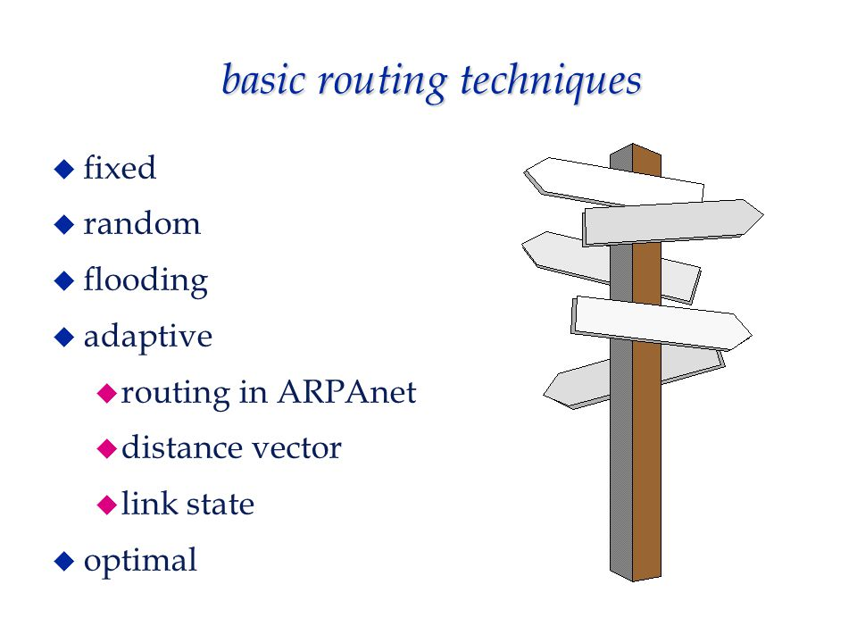 basic routing techniques  fixed  random  flooding  adaptive  routing in ARPAnet  distance vector  link state  optimal
