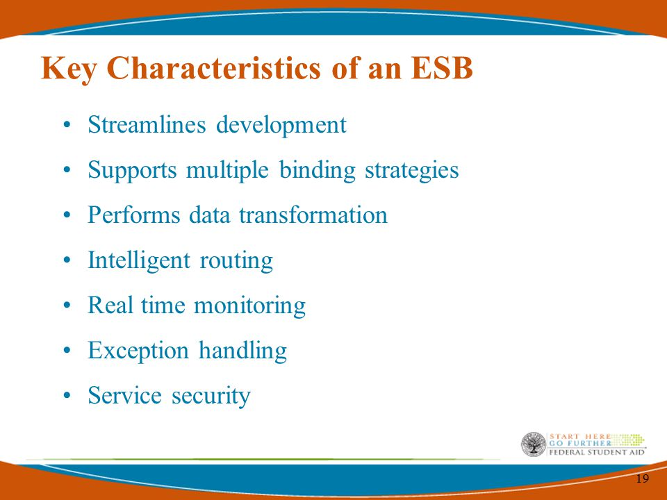 19 Key Characteristics of an ESB Streamlines development Supports multiple binding strategies Performs data transformation Intelligent routing Real time monitoring Exception handling Service security